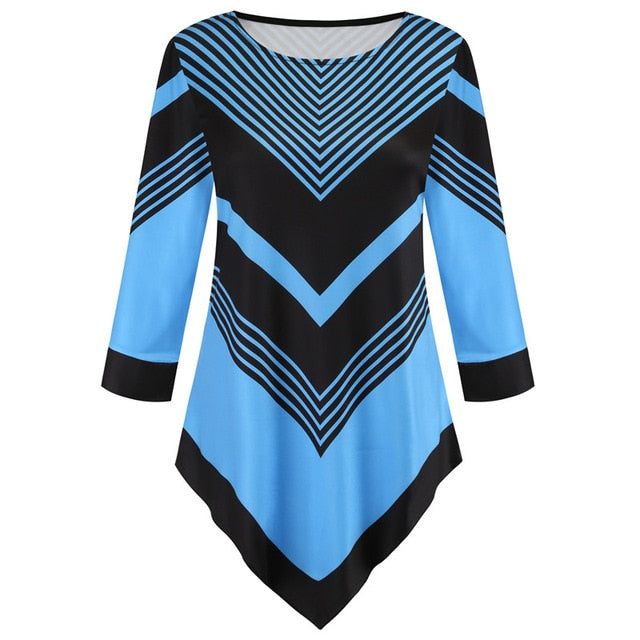 Spring Summer Blouse Tops 5XL 2020 New Striped Women Irregular Shirt Long Sleeve Casual Print 3D Shirts Big Size Female Clothes