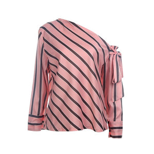 2020 Women Casual Striped Shirt tops Fashion Loose Fall Spring Long Sleeve Off Shoulder Blouse OL Bowknot Blusas Female Clothes