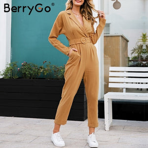 BerryGo Casual cargo cotton female jumpsuits Orange sash pocket sport womens jumpsuit romper Chic autumn winter ladies overalls
