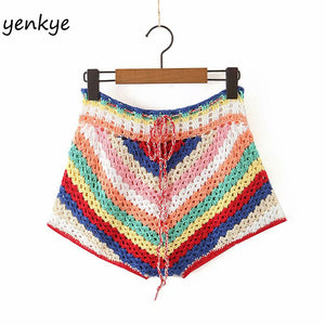 Multicolor Striped Knit Crochet Shorts Women Drawstring Waist Sexy Short Femme Holiday Summer Boho Short mujer spodenki damskie