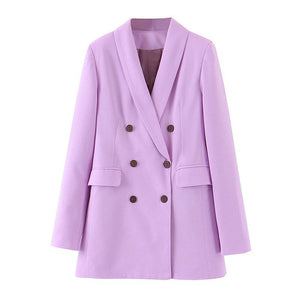 Tangada fashion women purple blazer long sleeve korea style female blazer office ladies new arrival autumn outwear SL404