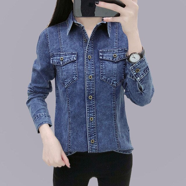 Basic Vintage Women Denim Shirt Tops 2019 Spring Autumn Casual Long Sleeve Cotton Washed Blue Jeans Blouse Clothes Femme