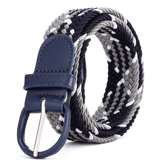 ZLD Elastic Braided Belt Women Casual Pin Buckle Belts Men High Quality Multiple Sizes Not Need Punch Easy Wear Fashion Luxury