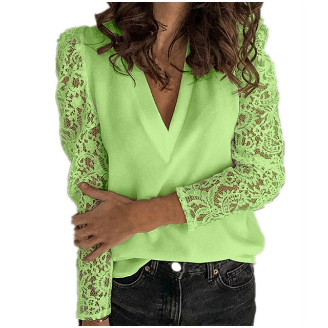 Women V-neck Lace Hollow Out Blouse Patchwork Long Sleeve White Office Ladies Blouses