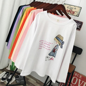 DONAMOL Plus Size women clothes spring and autumn Fashion Casual Long sleeve T-shirt loose 100% cotton pattern print Tops & tees