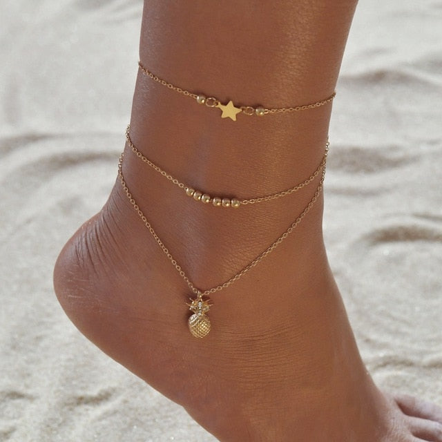 Vintage Handmade Shell Beads Sea Turtle Anklets For Women Girl New Multi Layer Anklet Leg Chain Bracelet Bohemian Summer Jewelry