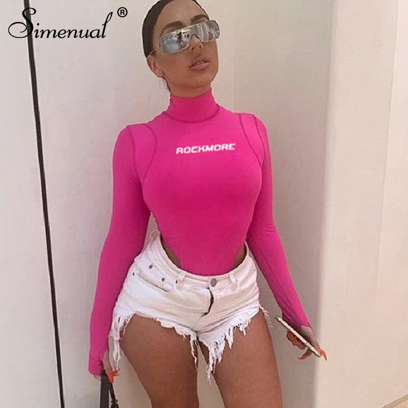 Simenual Sexy Bodycon Letter Print Bodysuits Women Long Sleeve Fashion 2019 Pink Romper One Piece Skinny Hot Turtleneck Bodysuit