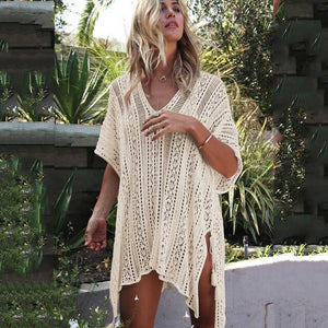 Beach Dress Long Sleeve Crochet Swimsuit Cover Up Crochet Knitted Tassel Tie Beachwear Women Bikini Cover-ups Loose Cardigan