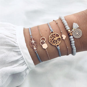 DIEZI Drop Shipping Different Style Elephant Tree Of Life Tassel Chain Bracelet Sets For Women Beaded Bracelets Bangles Jewelry