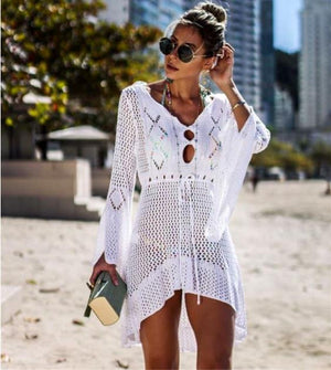 Beach Cover Up Crochet Knitted Tassel Tie Beachwear Tunic Long Summer Swimsuit Cover Up Sexy See-through Beach Dress