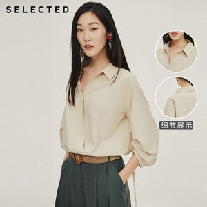 SELECTED Women's Loose Fit Drawstring Temperament 3/4 Sleeves Shirt S|420251506