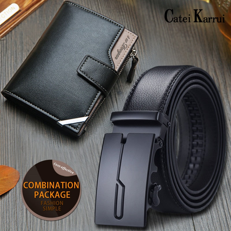 NEW suit pin buckle belt cow genuine leather luxury strap male belts for men fashion classice vintage gift wallet set/sets