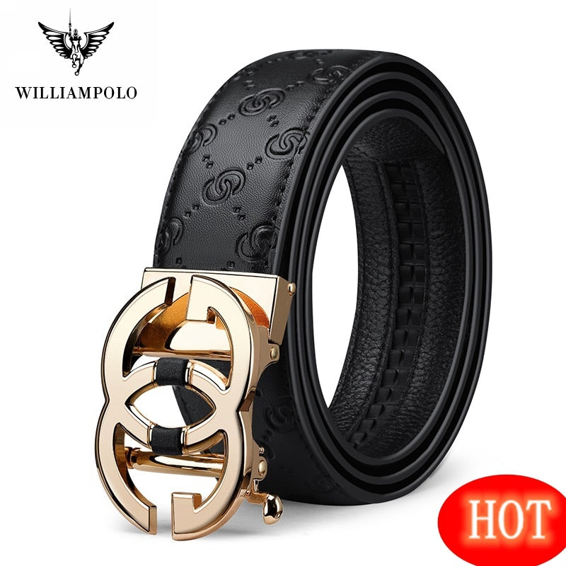 WilliamPolo Genuine leather Belt Men Luxury Brand Designer Marvel Top Quality Belts for Men Strap Male Metal Automatic Buckle