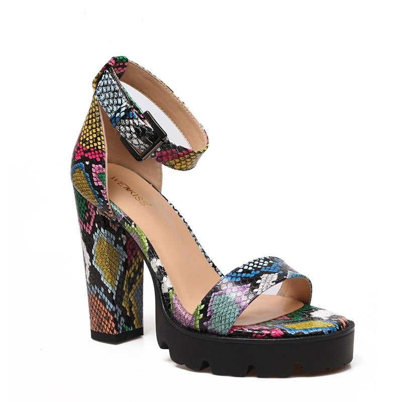 Colorful Snake Print Sandals