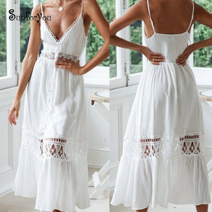 Summer White Beach Dress Cotton Crochet Beach Cove up Lace Patchwork Bathing suit Swimwear Cover up Sarong Robe Bikini Cover ups