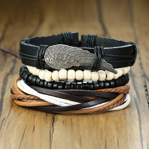 Vnox Assorted Men's Bracelets Set 4pcs Mixed Leather Wrap Bracelet Black Brown Bangles Punk Male Rock Accessory