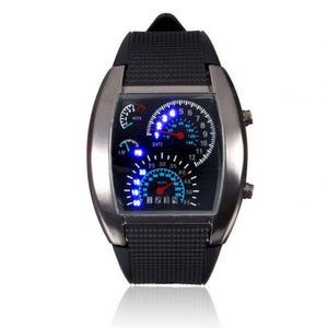 Men Fashion LED Sport Rubber Band Digital Week Date Dashboard Pattern Dial Watch Mas-culino Fashion Men's Watch Large Dial Milit