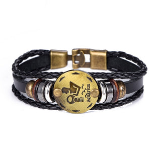 NEW Birthday Gift punk Zodiac Signs Aries Leo Bracelet Constellations charm men bracelets Virgo Pisces Pendant Women DropShiping