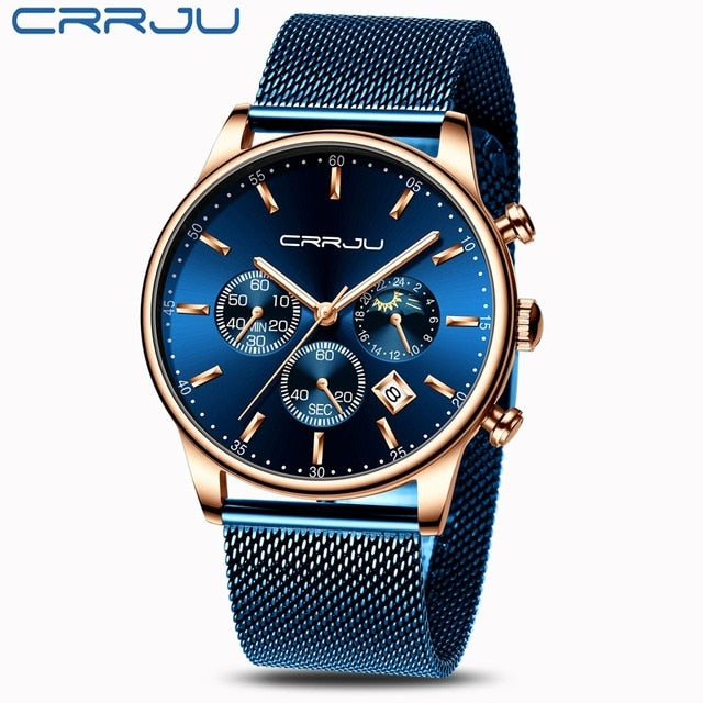 Relogio Masculino CRRJU Luxury Quartz Watch for Men Blue Dial Watches Sport Watches Chronograph Clock Mesh Belt Wrist Watch