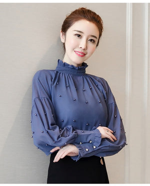 2020 blue  chiffon women shirts beading women tops long sleeved bottom shirt fashion blouse OL women blouses clothes 1641 50