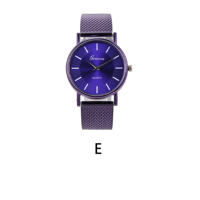 Quartz Watch Woman's High-end Blue Glass Life Waterproof Distinguished Female Clock Quartz Wristwatch Ladies Wrist Fashion J6