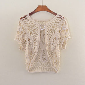 Summer Women Shrug Hand Crocheted Top Cover Hollow Out Short Sweater Short Sleeve Cape Bikini Cover Short Shrug For Female