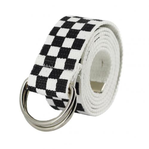 Hot 130cm Dual Ring Fashion Canvas Waist Belt Rainbow Color Striped Strap Waistband