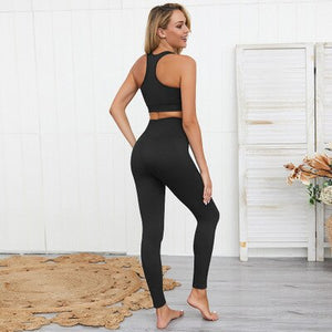 Fashion 1 Set Women Set High-waist Vest Suit Solid Hip-lifting Sports Fitness Running Pure Color Sexy & Club Short Elastic Waist