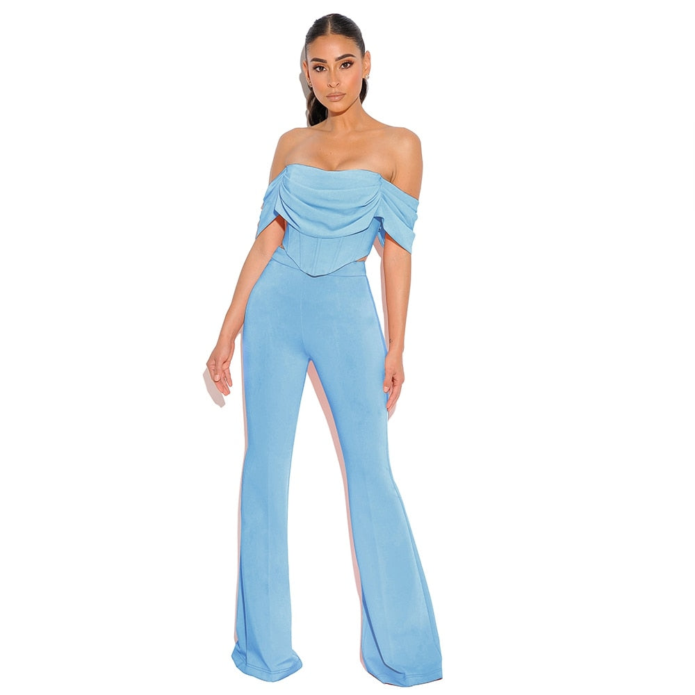 Deer Lady 2 Peice Set Women Summer 2020 Blue Crop Tops Bodycon High Waist Pants Long Wide Leg Pants Set Club Party