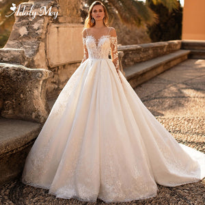Glamorous Lace Appliques Court Train A-Line Wedding Dress 2020 Luxury Sweetheart Neck Beading Long Sleeve Princess Wedding Gown