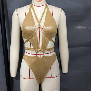 Backless Metallic Romper Women Jumpsuit Bodysuit Hollow Out  Bandage Bodysuit Sexy Jumpsuit One Piece Cut Out Jumpsuit