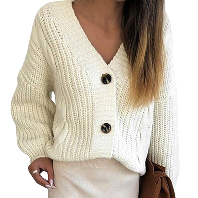 2020 New Casual Loose Long Sleeve Single Row Button Sweater Sweater Cardigan Women Knitwear V Neck Women's Clothing Cardigan