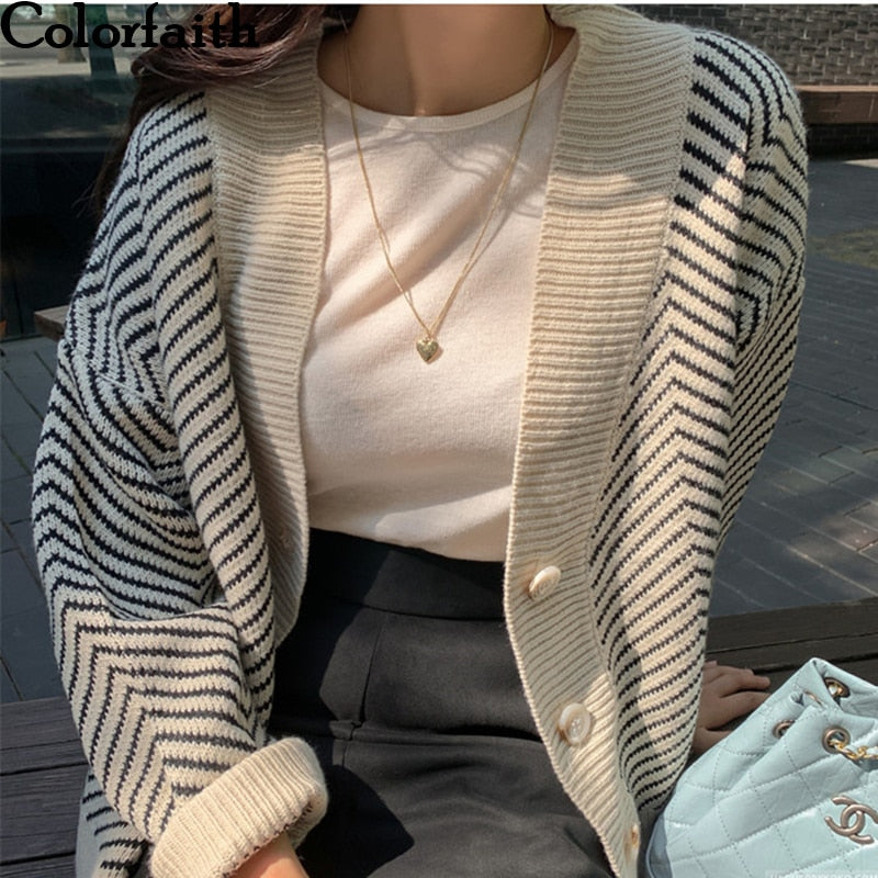 Colorfaith 2020 Women's Knitwear Autumn Winter  Striped Casual V-Neck Cardigans Button Cardigan Loose Korean Sweaters SWC3033