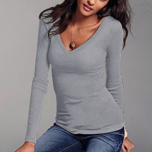Women's T-shirt Solid Long Sleeve V-Neck Tops Autumn Ladies Bottom Shirt Pullover White Top T-shirt Woman Clothes Spring Shirts