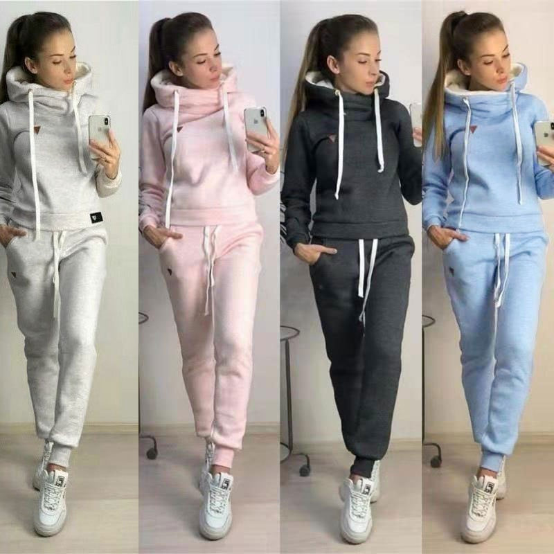 Two Piece Set Tracksuit Women Hoodie Fleece Sweatshirt Top and Pants Jogger Suit Autumn Winter Clothes Chandal Mujer 2 Piezas