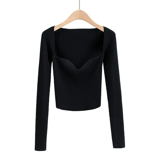 Tangada 2020 autumn women solid thin sweater long sleeve elegant office lady knitted jumper tops 4P2