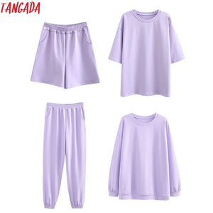 spring 95% cotton suit oversized 4 pieces sets  sweatshirt shorts pants.