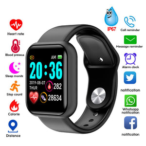 Y68 Men Women Waterproof Heart Rate Blood Pressure Monitor Bluetooth Smart Bracelet for iOS Android Fitness Tracker Smartwatch