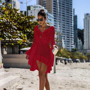 Women Candy color Crochet Cover-Ups Summer Sexy Lace hollow out Cover Up Swimwear dress Lady Knitting Bathing Tunic Robe Blouse