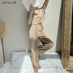 Mnealways18 Khaki Casual 2 Piece Set Knitted Women Tracksuit O-Neck T-Shirt And Wide Leg Pants Suits Female Autumn Outfits 2020