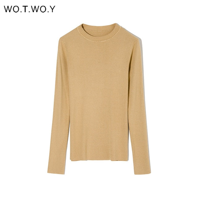WOTWOY Autumn Winter Basic Knitted Sweater Women White Slim Fit Bottoming Knitwear Pullovers Women Casual Sweaters Female Jumper