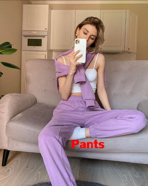 Women Tops and Pants Outfits 2020 Autumn Women Cotton Solid Sweatpants Set Women Pullover