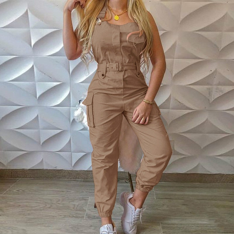Women Jumpsuit Casual Fashion Sleeveless with Waist Belt Pockets Summer Autumn Gray Pink Khaki Female Playsuits Romper 2020 New