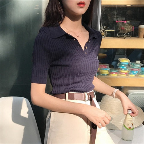 Korean 2020 Women Elegant And Casual Polo Plunge Neck Short Sleeve Knitted Shirt Crop Top