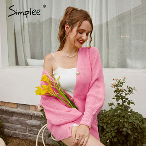 Simplee Casual long knitted cardigan women autumn winter yellow cardigan lantern sleeve loose female button knitwear sweaters
