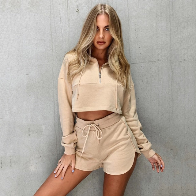 Women 2PCS Solid Casual Clothes set Fall Spring Ladies Front Zipper Sweatshirts tops Shorts High waist Elastic Fitness Tracksuit