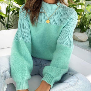 Knitted Patchwork Solid Women's Sweaters Autumn Drop Shoulder Turtleneck Female Pullovers Winter Streetwear Casual Lady Sweater