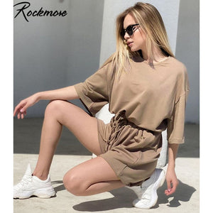 Rockmore Short Sleeve Two Piece Sets Track Suit Women Plus Size Sweatshirts Drawstring Shorts Autumn Streetwear 2 Pieces Outfits