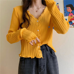 Women Knitted Ruched Short Sweaters Cardigan Girls V-Neck Long Sleeve Single Breasted Cardigan 2020 Autumn Sweet Female Sweaters