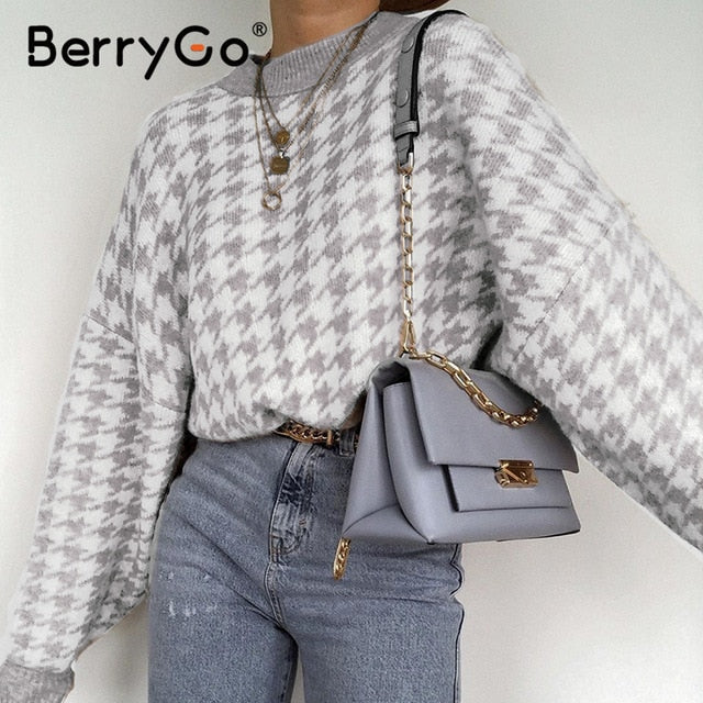 knitted sweater women casual Houndstooth lady pullover sweater female Autumn winter retro jumper